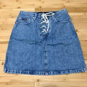 ❌SOLD❌vintage denim lace up skirt